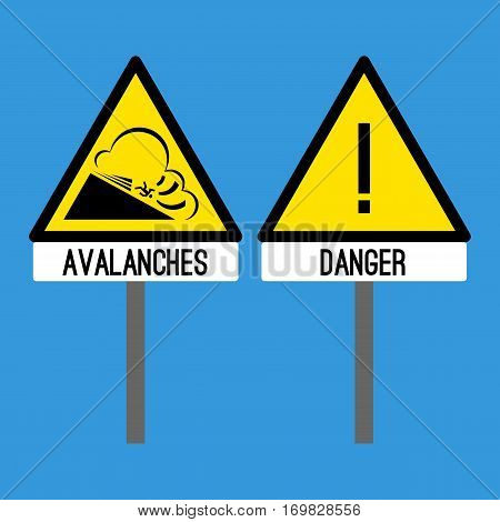 Road signs danger and avalanches. Snowslide rapid flow of snow down sloping surface. Caution to stop and be attentive. Traffic warning sign about danger on road. Vector information for car drivers