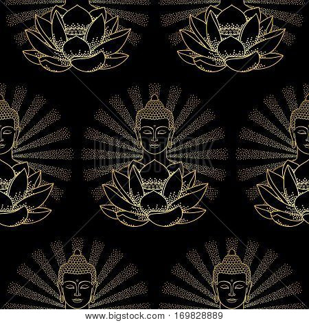 Seamless pattern of gold Buddha and Lotus with beam of light isolated on black background.