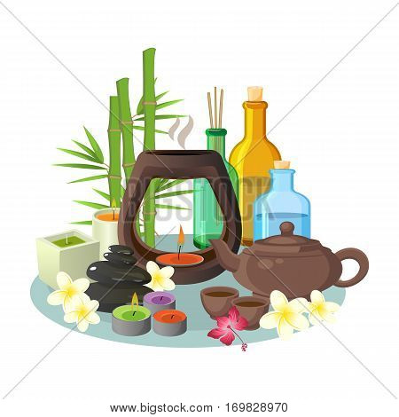 Aromatherapy collection of candles and special colourful bottles for relaxation on grey tray. Vector illustration of aroma candles, brown teapot with cups, bottles with special liquids and high plants