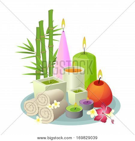 Spa treatment set of white rolled towels, colourful candles in round and rectangular shapes, tropical plants on gray tray. Aromatherapy vector collection of things in eastern style on white.