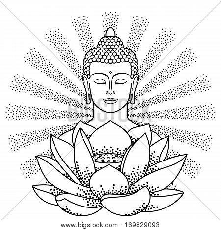 Buddha and Lotus with beam of light isolated on white background. Sign for tattoo, textile print, mascots and amulets. Coloring page.