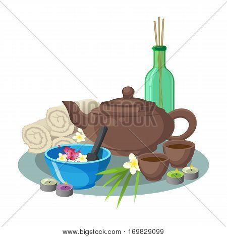 Aroma and beauty concept vector collection of blue bowl with flowers and special spoon, brown teapot with round cups, green transparent bottle with sticks inside, white soft towels and round candles