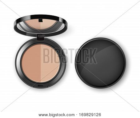 Vector Face Cosmetic Makeup Powder in Black Round Plastic Case with Mirror Top View Isolated on White Background