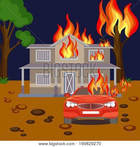 Fire banner realistic vector. Burning two-floored house, red automobile and tree without leaves on ground with big stones. Movables and real estate destroying, harm for nature and environment