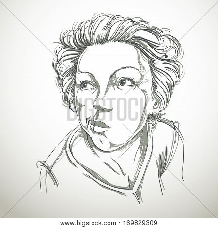 Graphic vector hand-drawn illustration of white skin attractive dazed lady with stylish haircut. People face expressions. Girl making a grimace.