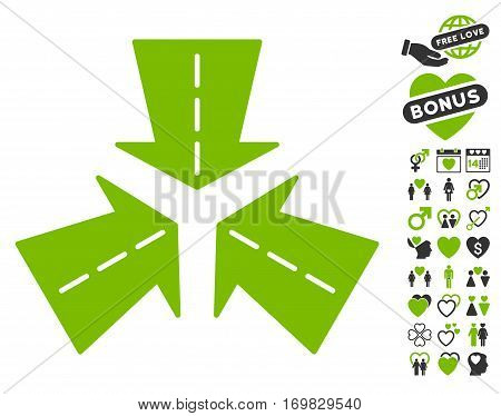 Merge Directions icon with bonus passion pictograms. Vector illustration style is flat rounded iconic eco green and gray symbols on white background.
