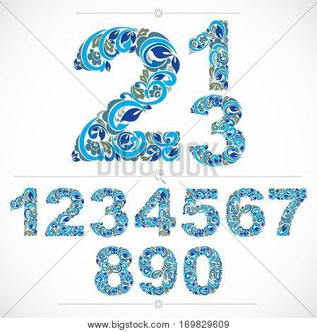 Set Of Beautiful Numbers Decorated With Blue Herbal Ornament. Vector Numeration Made In Floral Style