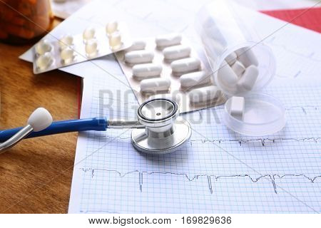 Stethoscope with pills on paper electrocardiogram