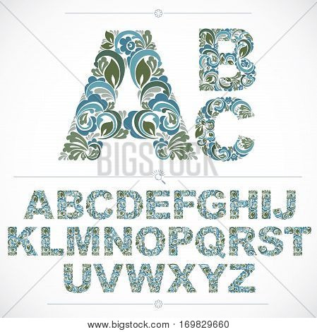 Blue Floral Font, Hand-drawn Vector Capital Alphabet Letters Decorated With Botanical Pattern. Ornam