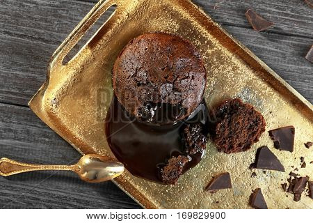 Chocolate fondant on tray