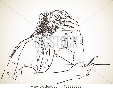Teen girl using smartphone propping head with hand, Vector sketch, Hand drawn illustration.