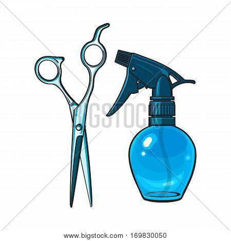 Plastic hairdresser spray bottle and professional stainless steel scissors, sketch style vector illustration isolated on white background. Hairdresser spray bottle and professional scissors