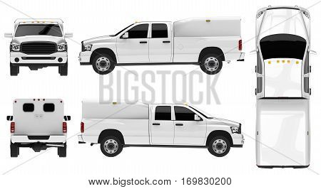 White pickup truck template isolated car on white background. 3D