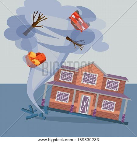 Tornado twisted cottage house, trees, car and pieces of furniture. Hurricane natural disaster damaged everything realistic vector illustration. Referred to twisters, whirlwinds or cyclones