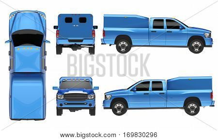 Blue pickup truck template isolated car on white background. 3D