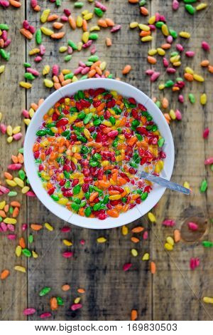 Colorful Puffed Rice In The Bowl
