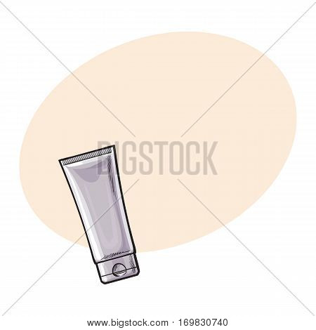 Blank, unlabelled tube of sun protection, moisturizing cream or facial mask, sketch vector illustration with place for text. Hand drawn unlabelled cream tube, package design