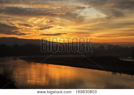 Wonderful Sunset Over The River