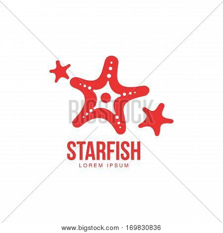 Simplified, stylized graphic silhouette three starfish logo template, vector illustration isolated on white background. Stylized graphic starfish logotype, logo design, summer vacation concept