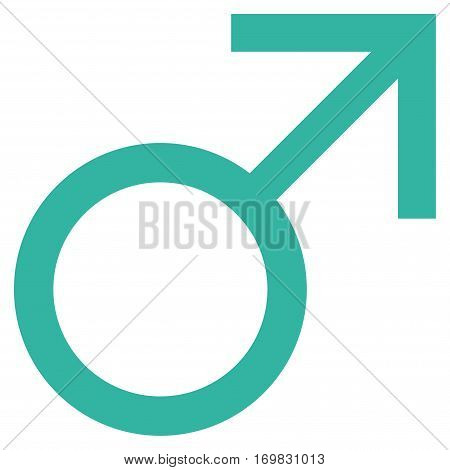 Mars Male Symbol flat icon. Vector cyan symbol. Pictograph is isolated on a white background. Trendy flat style illustration for web site design, logo, ads, apps, user interface.