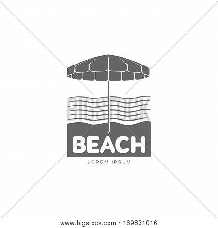 Logo template with beach umbrella standing against stylized sea waves, vector illustration isolated on white background. Black white graphic logotype, logo template with beach umbrella on sea shore