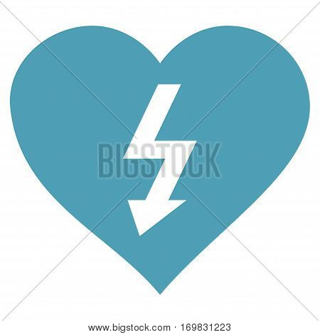 Power Love Heart flat icon. Vector cyan symbol. Pictogram is isolated on a white background. Trendy flat style illustration for web site design, logo, ads, apps, user interface.