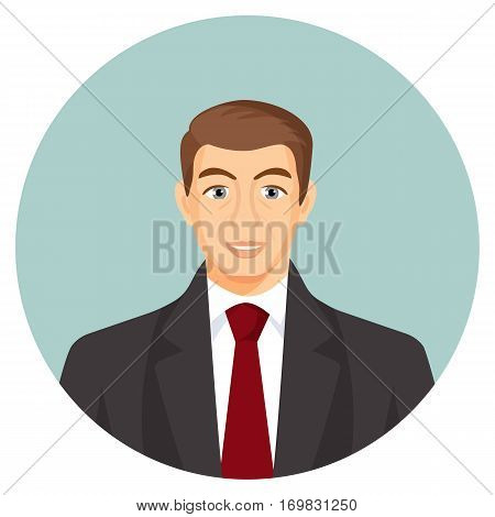 Businessman avatar. Man in suit with blue tie. Human profile userpic with face features. Web picture of gentlemen in round button. Chife or boss avatar