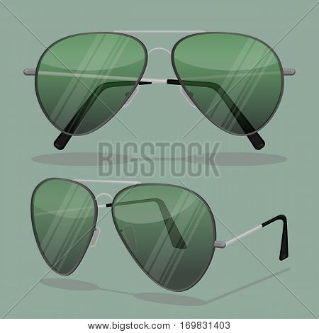 Aviator sunglasses isolated on white. Dark brown reflective lense with very thin metal frames with double bridge and bayonet earpieces or flexible cable temples that hook behind ears