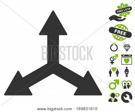Triple Arrows icon with bonus valentine graphic icons. Vector illustration style is flat rounded iconic eco green and gray symbols on white background.