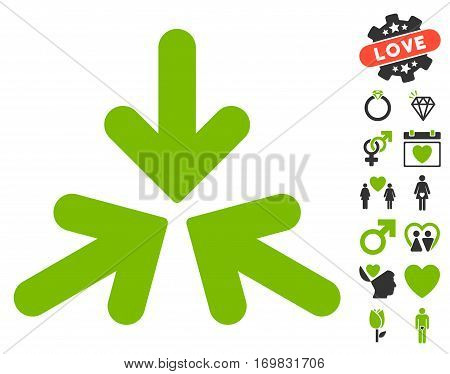 Triple Collide Arrows icon with bonus love symbols. Vector illustration style is flat rounded iconic eco green and gray symbols on white background.
