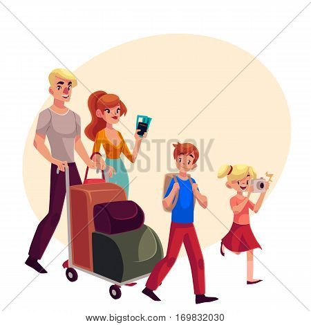 Family of four in airport, father pushing cart with luggage, mother holding tickets, little girl making photos, cartoon illustration on background with place for text. Family travelling with luggage