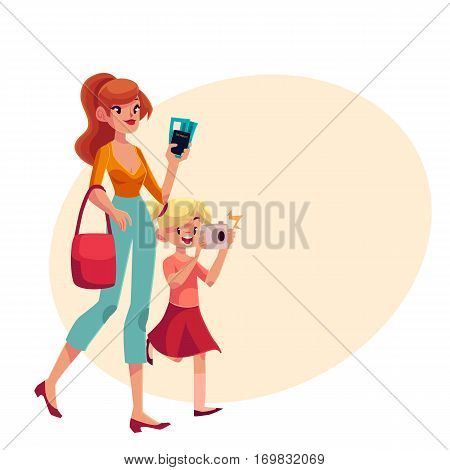 Young beautiful woman going on vacation with her daughter holding camera, passes and passport, cartoon illustration on background with place for text. Full length portrait of young mother and daughter