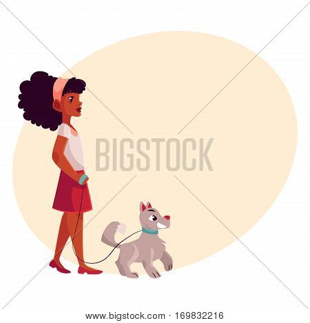 Black, African American girl walking with her white dog on a loose leash, cartoon vectoron background with place for text. Full length portrait of black girl walking with her dog, puppy