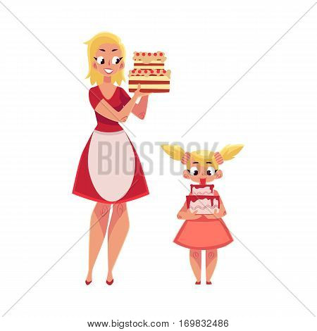 Mother and daughter holding birthday cakes, getting ready for party, cartoon vector illustration isolated on white background. Mother in apron and teenaged daughter holding birthday cakes