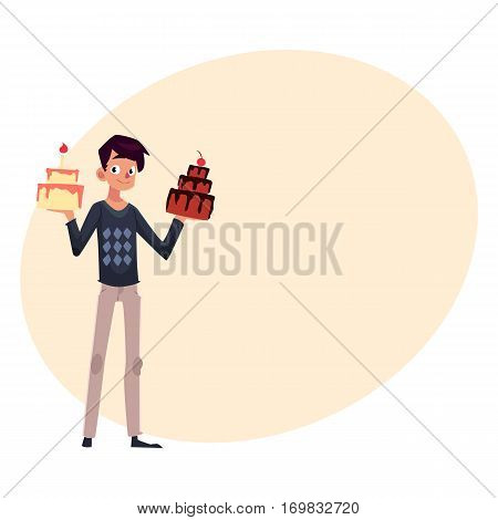 Young man holding birthday cakes in raised hands, getting ready for party, cartoon vector illustration with place for text. Young man holding choice of two birthday cakes