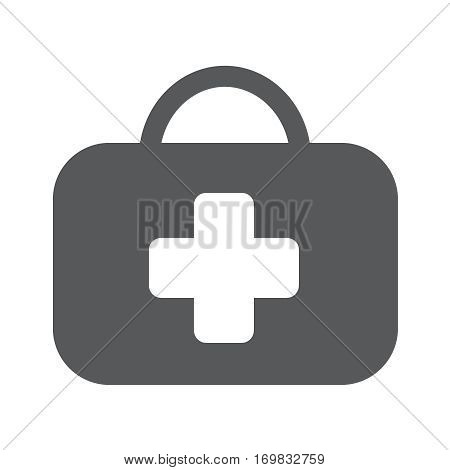 Medicine chest vector sign. First aid kit vector icon. Medical bag flat illustration. Medic box isolated image. Medical help service button pictogram.