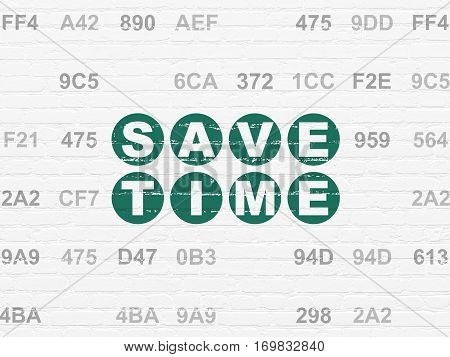 Timeline concept: Painted green text Save Time on White Brick wall background with Hexadecimal Code