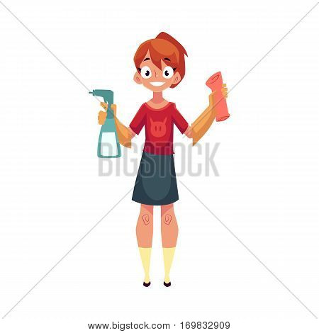Teenage girl helping to clean the house, holding sprinkler and cloth, cartoon vector illustration isolated on white background. Girl cleaning home with cloth and sprinkler