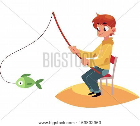 Little boy fishing with a rod sitting on sandy river, pond bank, summer vacation concept, cartoon vector illustration isolated on white background. Little boy fishing from sandy river bank