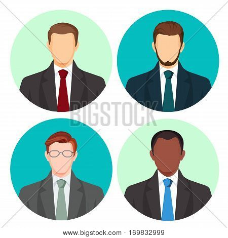Businessman avatar four pictures vector set on white. Male people with light and dark skin, with moustache and glasses, in business costumes with red, green, blue or grey ties on round backgrounds