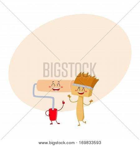 Funny smiling paint brush character and roller tool giving thumb up, cartoon vector on background with place for text. Comic style paint roller and brush building tools, characters, mascots