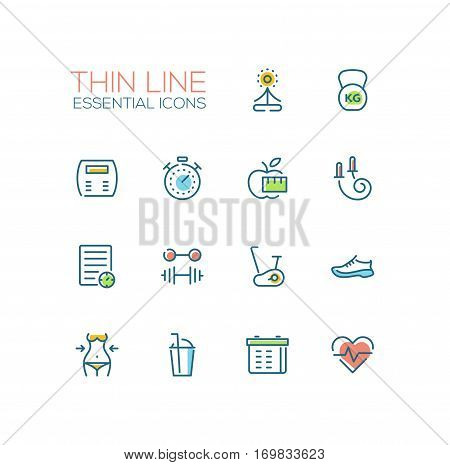 Diet and fitness - modern vector plain simple thin line design icons set. Yoga, weight, apple, stopwatch, skip rope, training shoes, barbell, exercise bike, cocktail, check-list, calendar pulse