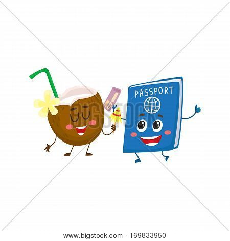 Funny passport and coconut characters, travelling, summer vacation symbol, cartoon vector illustration isolated on white background. Personal passport and coconut characters, mascots, holiday concept