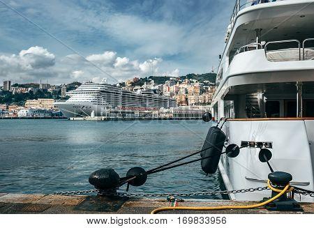 Luxury yachts in Genova port, Italy .