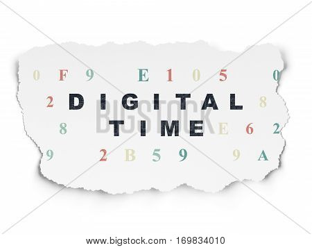 Timeline concept: Painted black text Digital Time on Torn Paper background with  Hexadecimal Code