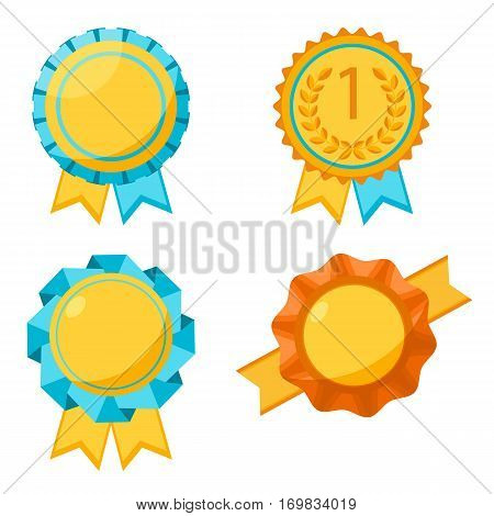 Award golden round signs collection on white. Elements for awarding winners by sticking them to clothes. Vector poster of medals with wavy ribbons around and two hanging pieces in flat design