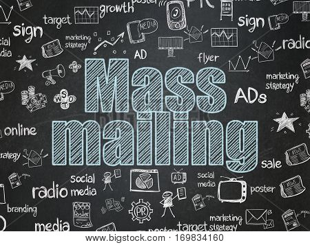 Marketing concept: Chalk Blue text Mass Mailing on School board background with  Hand Drawn Marketing Icons, School Board