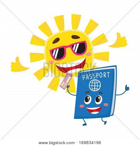 Funny passport and sun characters symbolizing vacation, holidays in exotic countries, cartoon vector illustration isolated on white background. Happy passport and sun characters, holidays concept
