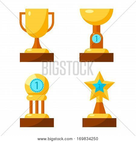 Trophy golden awards collection of four cups on white. Vector poster of winning cup with handles, shallow cup with number one, reward with circle on three columns and in shape of star made of gold