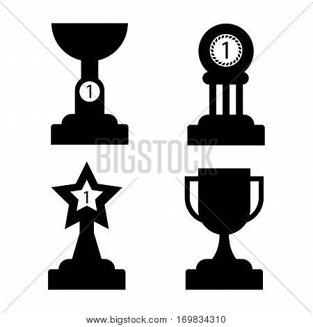 Trophy golden awards silhouettes collection of four cups on white. Vector poster of winning cup with handles, shallow cup with number one, reward with circle on three columns and in shape of star made of gold